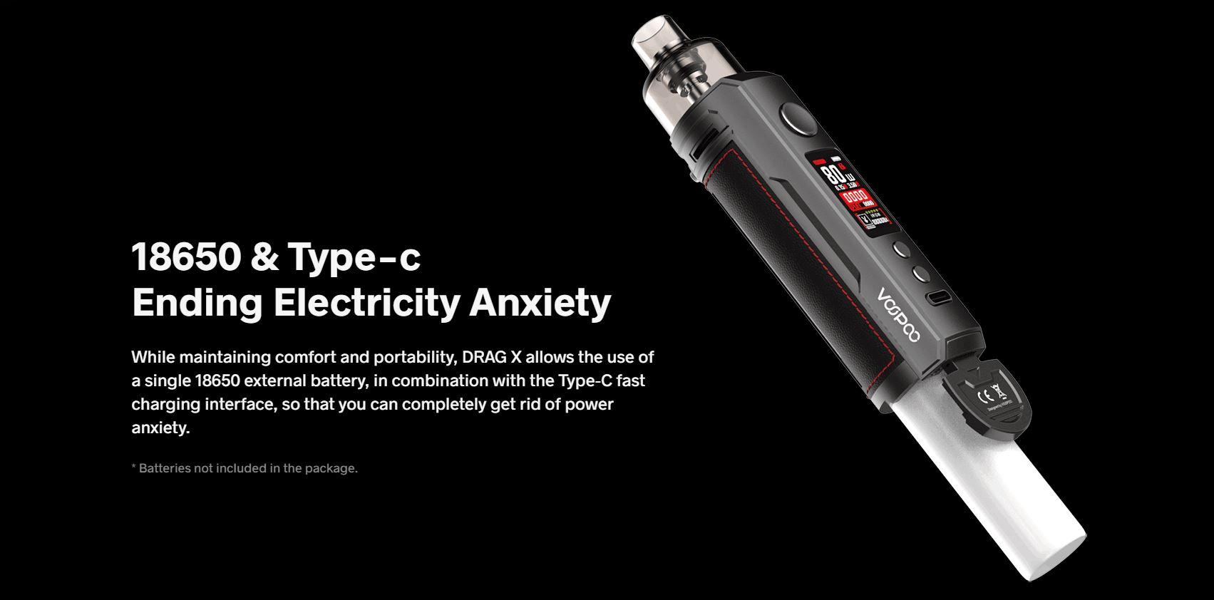 DragX utiliza bateria 18650